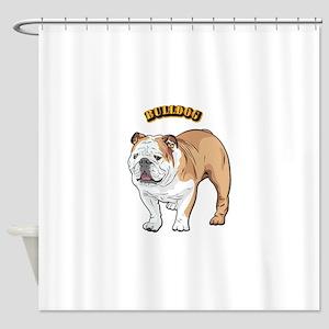 bulldog with text Shower Curtain