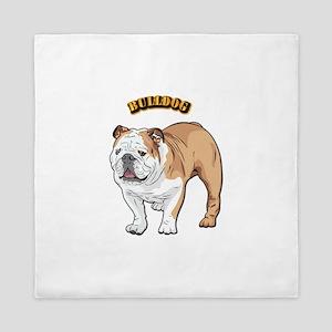 bulldog with text Queen Duvet