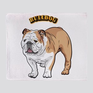 bulldog with text Throw Blanket