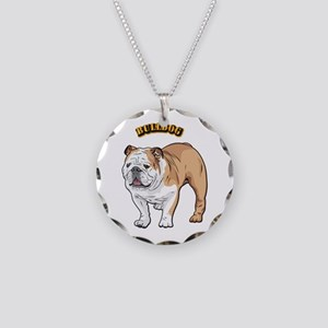 bulldog with text Necklace Circle Charm