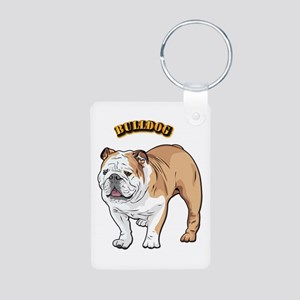bulldog with text Aluminum Photo Keychain