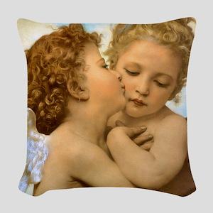 First Kiss by Bouguereau Woven Throw Pillow