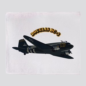 Douglas DC-3 With Text Throw Blanket
