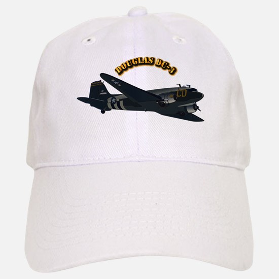 Douglas DC-3 With Text Baseball Baseball Cap