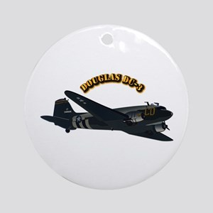 Douglas DC-3 With Text Ornament (Round)