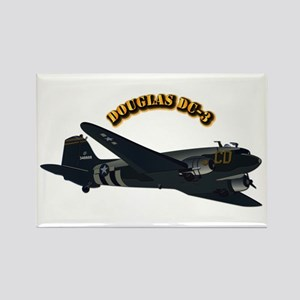 Douglas DC-3 With Text Rectangle Magnet