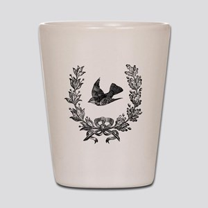 vintage sparrow bird and bow floral wre Shot Glass