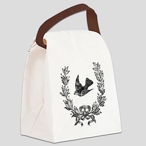 vintage sparrow bird and bow flor Canvas Lunch Bag