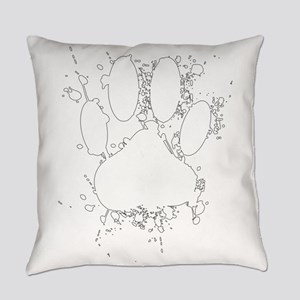 White Paint Splatter Dog Paw Print Everyday Pillow
