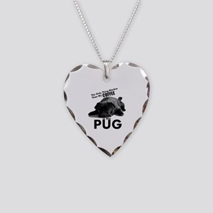 Black Pug Necklace Heart Charm