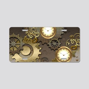 Steampunk, clocks and gears Aluminum License Plate