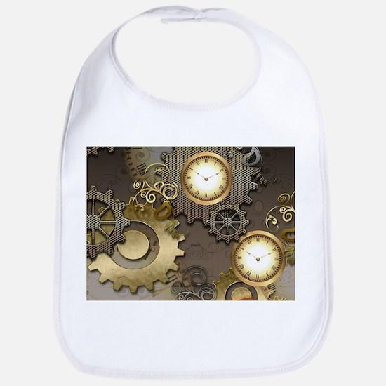 Steampunk, clocks and gears Bib