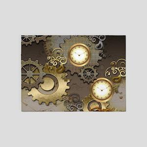 Steampunk, clocks and gears 5'x7'Area Rug