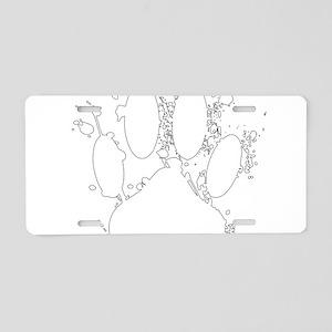 White Paint Splatter Dog Pa Aluminum License Plate