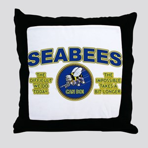 The Difficult We Do Today - Seabees Throw Pillow