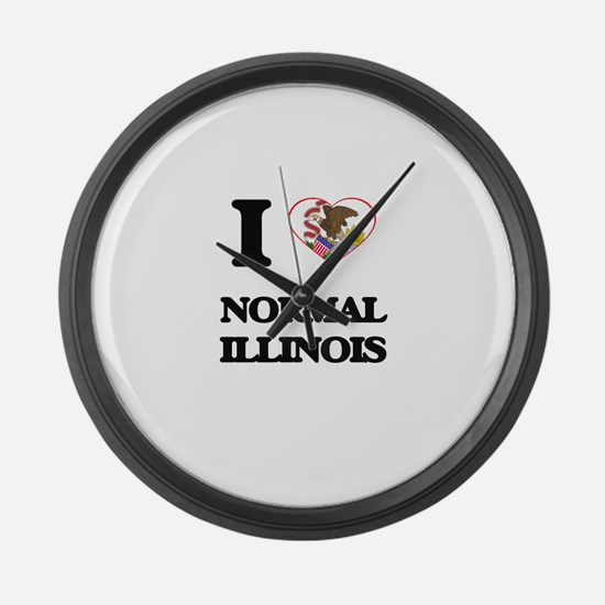 I love Normal Illinois Large Wall Clock