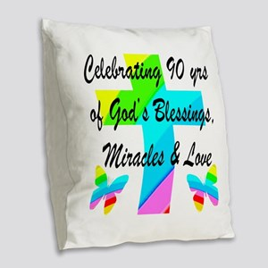 90 YR OLD BLESSING Burlap Throw Pillow