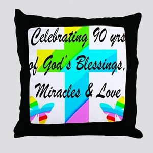 90 YR OLD BLESSING Throw Pillow
