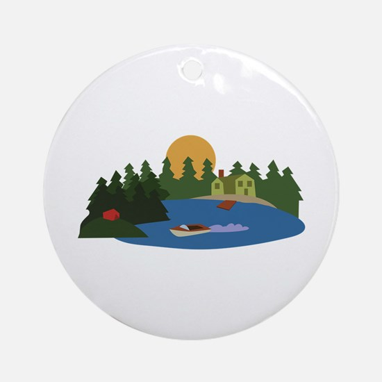 Lake House Ornament (Round)