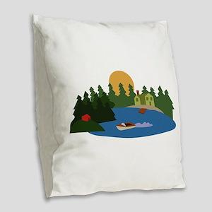 Lake House Burlap Throw Pillow