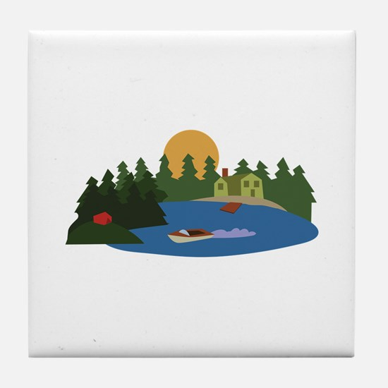 Lake House Tile Coaster