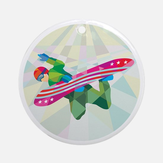 Snowboarder Snowboard Jumping Low Polygon Ornament