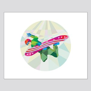 Snowboarder Snowboard Jumping Low Polygon Posters
