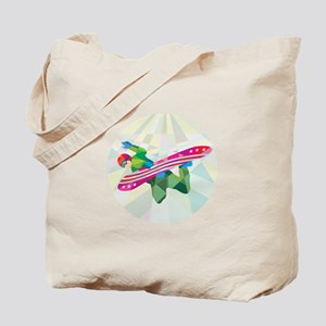 Snowboarder Snowboard Jumping Low Polygon Tote Bag