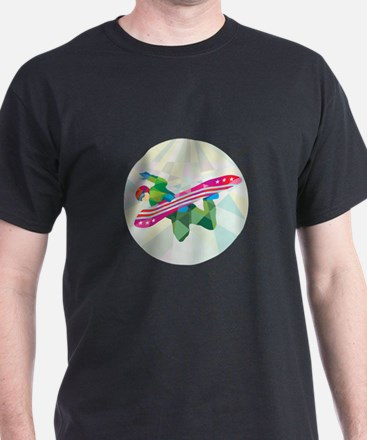 Snowboarder Snowboard Jumping Low Polygon T-Shirt