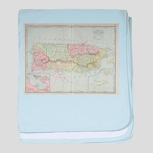 Vintage Map of Puerto Rico (1901) baby blanket