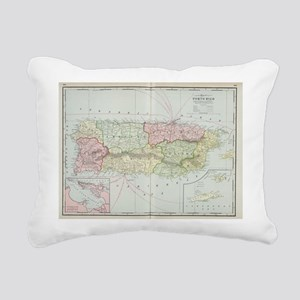 Vintage Map of Puerto Ri Rectangular Canvas Pillow