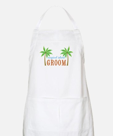 Groom Tropical Wedding BBQ Apron