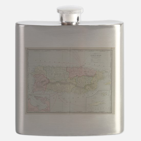 Vintage Map of Puerto Rico (1901) Flask