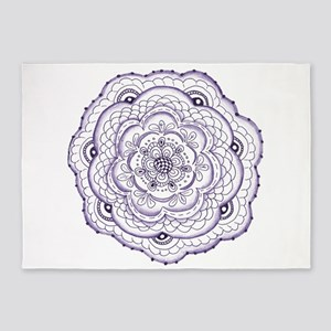 Purple Flower Hand Drawn Original A 5'x7'Area Rug