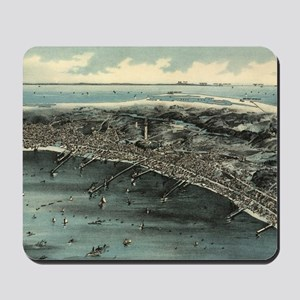 Vintage Pictorial Map of Provincetown (1 Mousepad