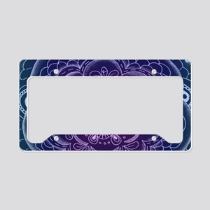 Purple and Blue Lace Flower License Plate Holder