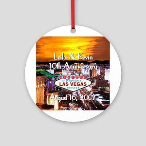 Leila & Kevin Las Vegas Anniversary Ornament (Rd)