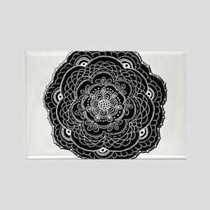 Black and White Rose Flower Doily Magnets
