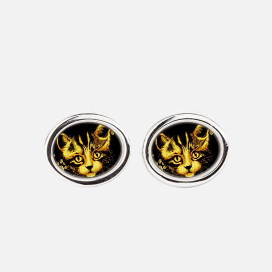 Cute Cat Portrait with Paws Prints Oval Cufflinks