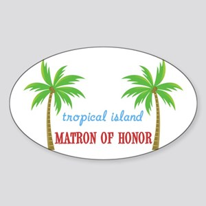 Tropical Matron of Honor Oval Sticker