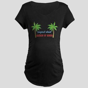 Tropical Matron of Honor Maternity Dark T-Shirt