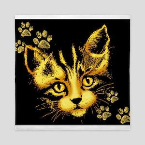 Cute Cat Portrait with Paws Prints Queen Duvet