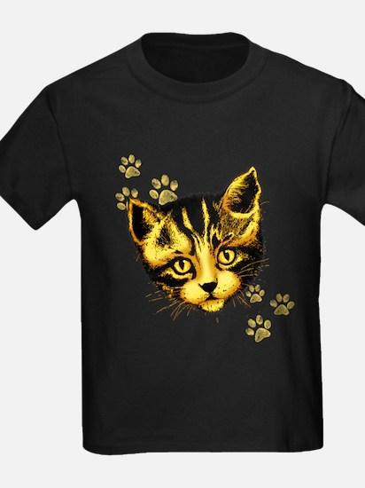 Cute Cat Portrait with Paws Prints T-Shirt