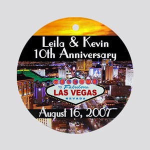 Leila & Kevin Anniversary 1 Ornament (Round)