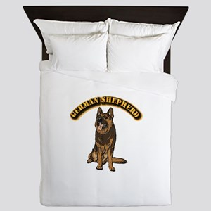 German Shepherd - With Text Queen Duvet