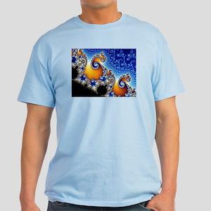Mandelbrot Blue Double Spiral Fractal T-Shirt