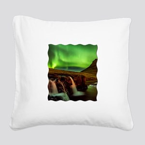Wild Skies over Iceland Square Canvas Pillow