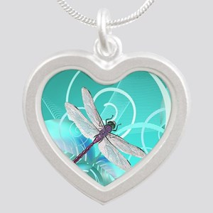 Cute Dragonfly Aqua Abstract Silver Heart Necklace