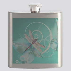 Cute Dragonfly Aqua Abstract Floral Swirl Flask