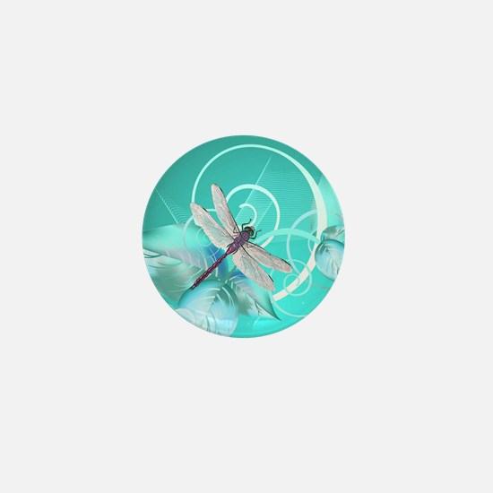 Cute Dragonfly Aqua Abstract Floral Sw Mini Button